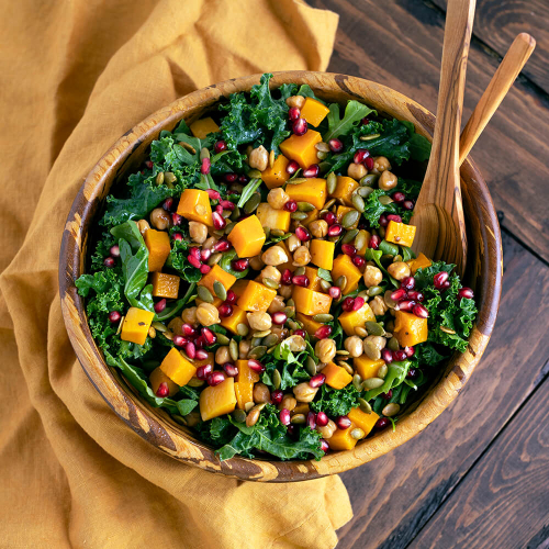 ROASTED BUTTERNUT SQUASH, CHICKPEA AND KALE SALAD